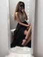 A-line V-neck Chiffon Floor-length Beading Prom Dresses