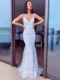 Trumpet/Mermaid V-neck Tulle Sweep Train Sequins Prom Dresses