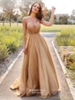 A-line V-neck Glitter Sweep Train Prom Dresses
