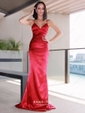 Sheath/Column V-neck Silk-like Satin Floor-length Buttons Prom Dresses