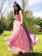 A-line V-neck Shimmer Crepe Sweep Train Pockets Prom Dresses